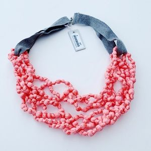 COS Coral Pink Tie Statement Necklace